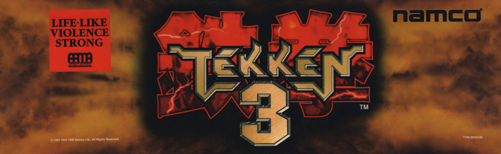 Tekken 3 Arcade Marquee 26 X 8 Arcade Marquee Dot Com